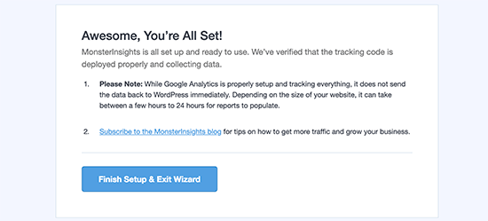 Congratulations! Google Analytics successfully installed using MonsterInsights