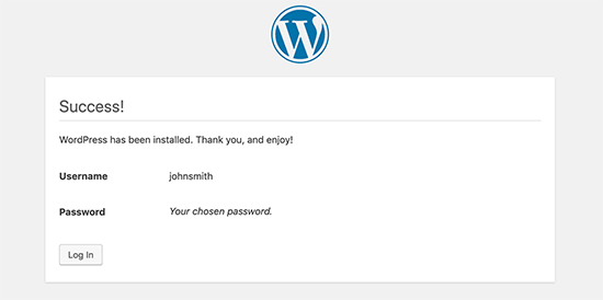 Manual WordPress installation finished