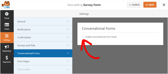 Enable Conversational Form Mode in WPForms