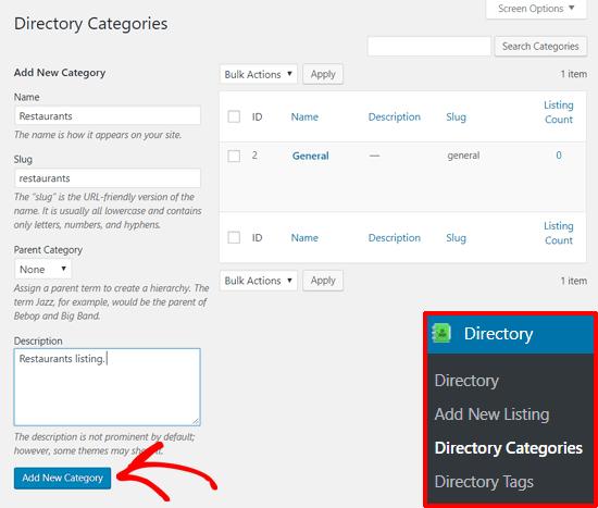Agregar nueva categoría de directorio con el complemento de directorio de negocios