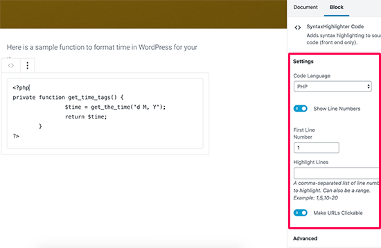 SyntaxHighlighter code block settings