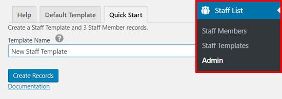 Create New Staff Template