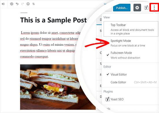 Enable Spotlight Mode in WordPress Editor