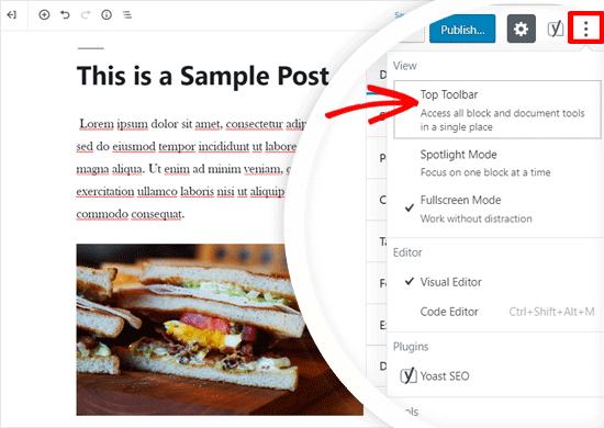 Top Toolbar Option in WordPress Editor