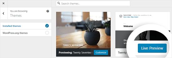 Vista previa de los temas instalados en el Personalizador de temas