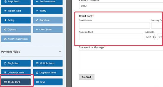 Menambahkan bidang kartu kredit Stripe ke formulir Anda