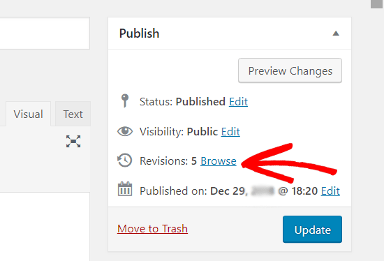 Browsing post revisions in classic editor