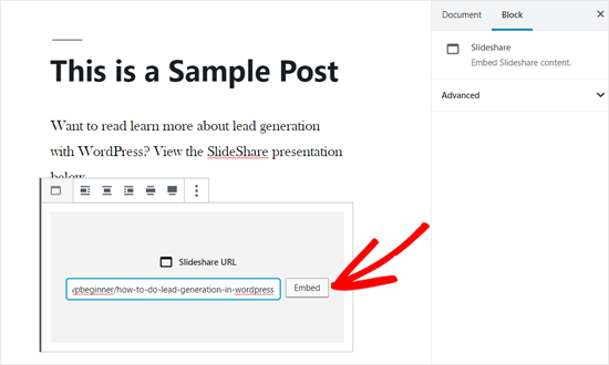 Embed SlideShare URL in WordPress Post