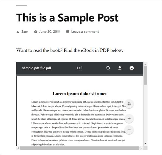 PDF, встроенный в WordPress Post Preview