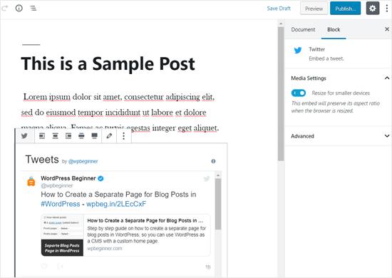 Профиль Twitter, встроенный в пост WordPress