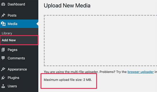 WordPress file upload limit