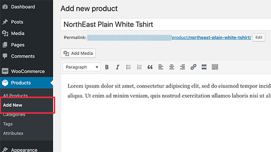 Adding a new product to your WooCommerce store