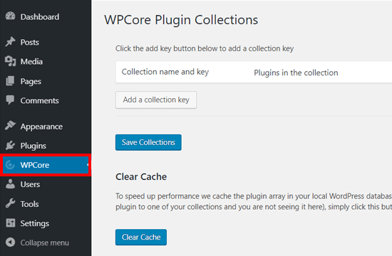 WPCore Plugin Manager Plugin Settings