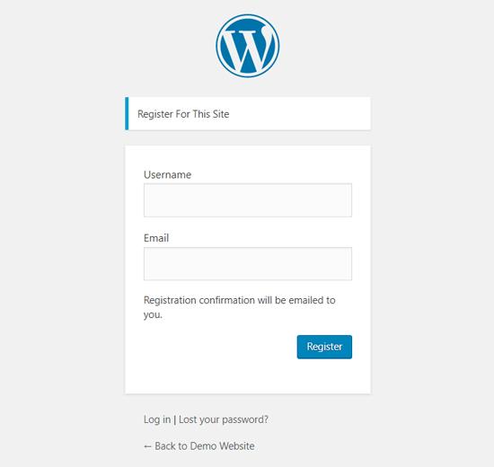 Halaman Registrasi Pengguna WordPress Default