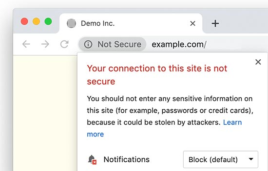 Not Secure HTTP website