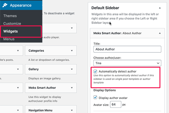 Adding author info widget
