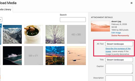 Adding alt text and title to images in WordPress