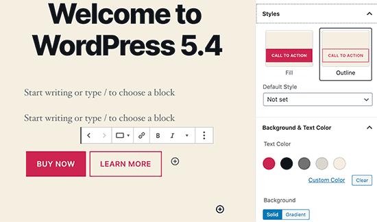 Knoppen in WordPress 5.4