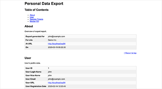 Exportbestand van persoonlijke gegevens