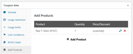 The free product shown in the table of products