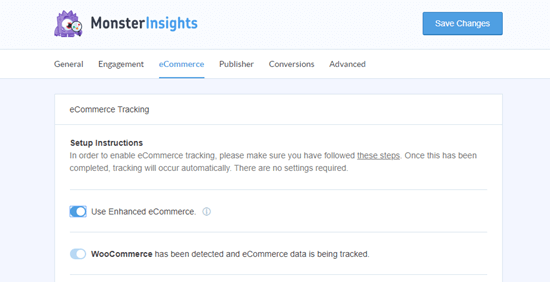 The eCommerce settings in MonsterInsights