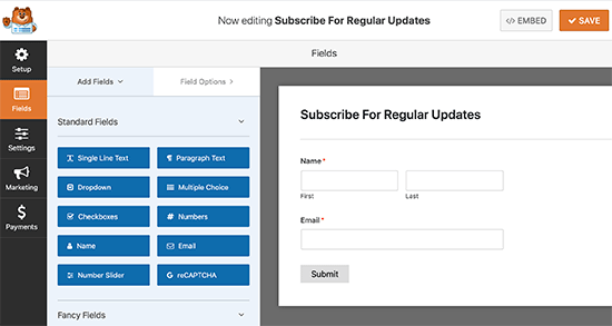 Newsletter signup form fields