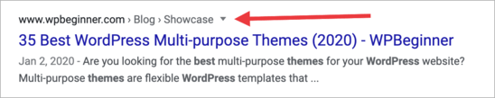 Breadcrumb navigation in search results