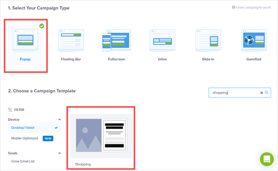 Choose a popup campaign and select a template in OptinMonster