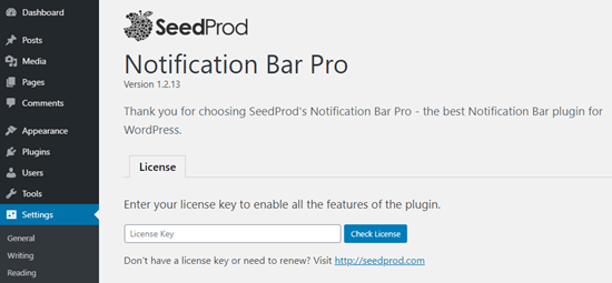 Entering your license key for Notification Bar Pro