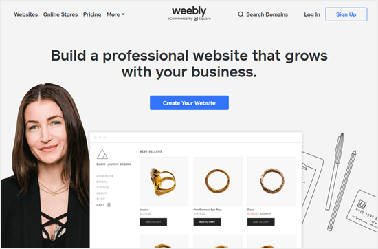 The Weebly website