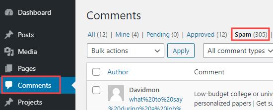 Klik pada tab Spam untuk melihat daftar komentar yang telah ditandai sebagai spam