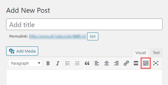 WordPress klasik düzenleyicisindeki araç çubuğu geçiş düğmesi