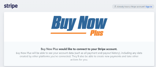 connect buy now plus with stripe