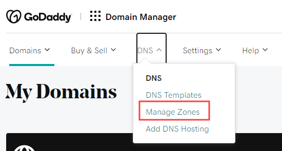 Selecting the DNS - Manage Zones link from the GoDaddy menu