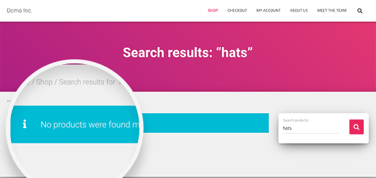 Product search showing no products found