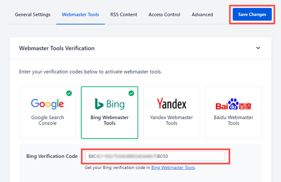 Entering the Bing verification code from your Bing HTML meta tag