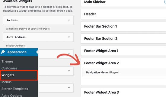 Footer widget area