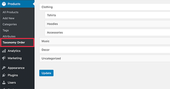 Reorder product categories in WooCommerce