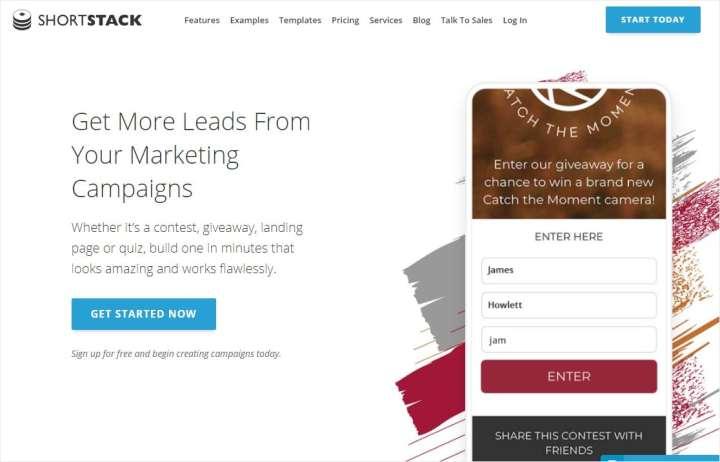 shortstack giveaway website