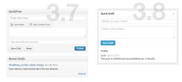 WordPress Dashboard (3.8) - Drafts/QuickPress