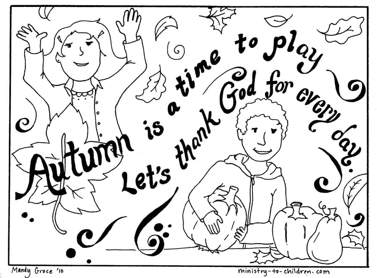 Autumn Coloring Page Let S Thank God Easy Printable
