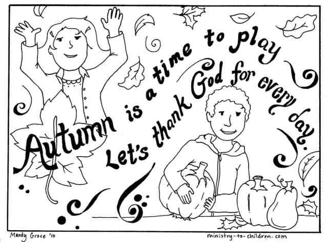 """Autumn Coloring Page """"Lets Thank God"""" Easy Printable PDF"""