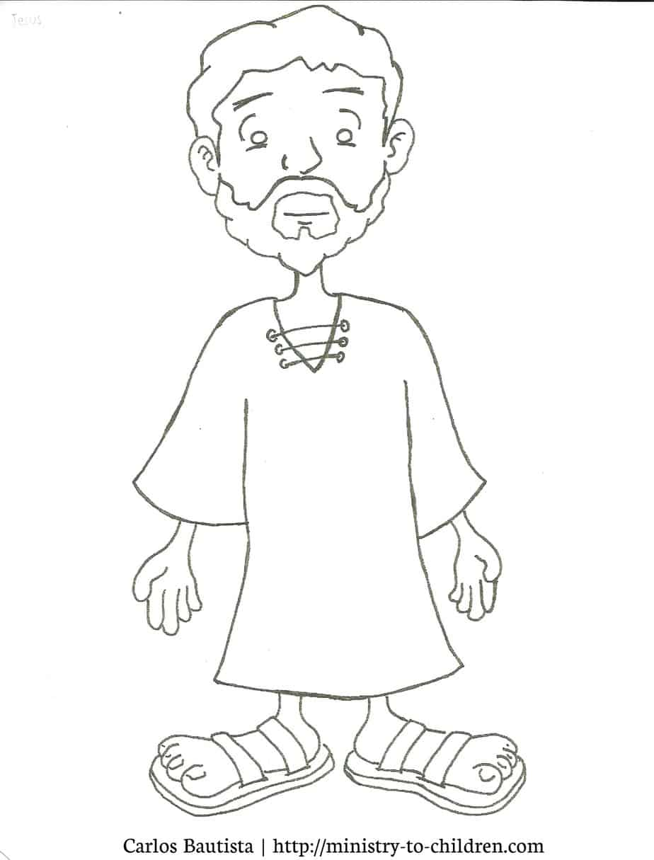 jesus coloring page printable cartoon figure