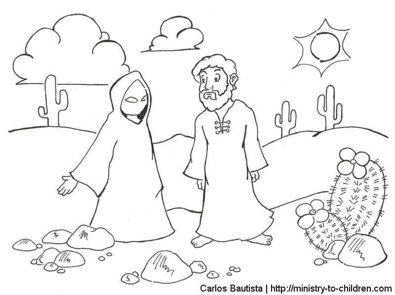 jesus overcomes temptations coloring pages free printables