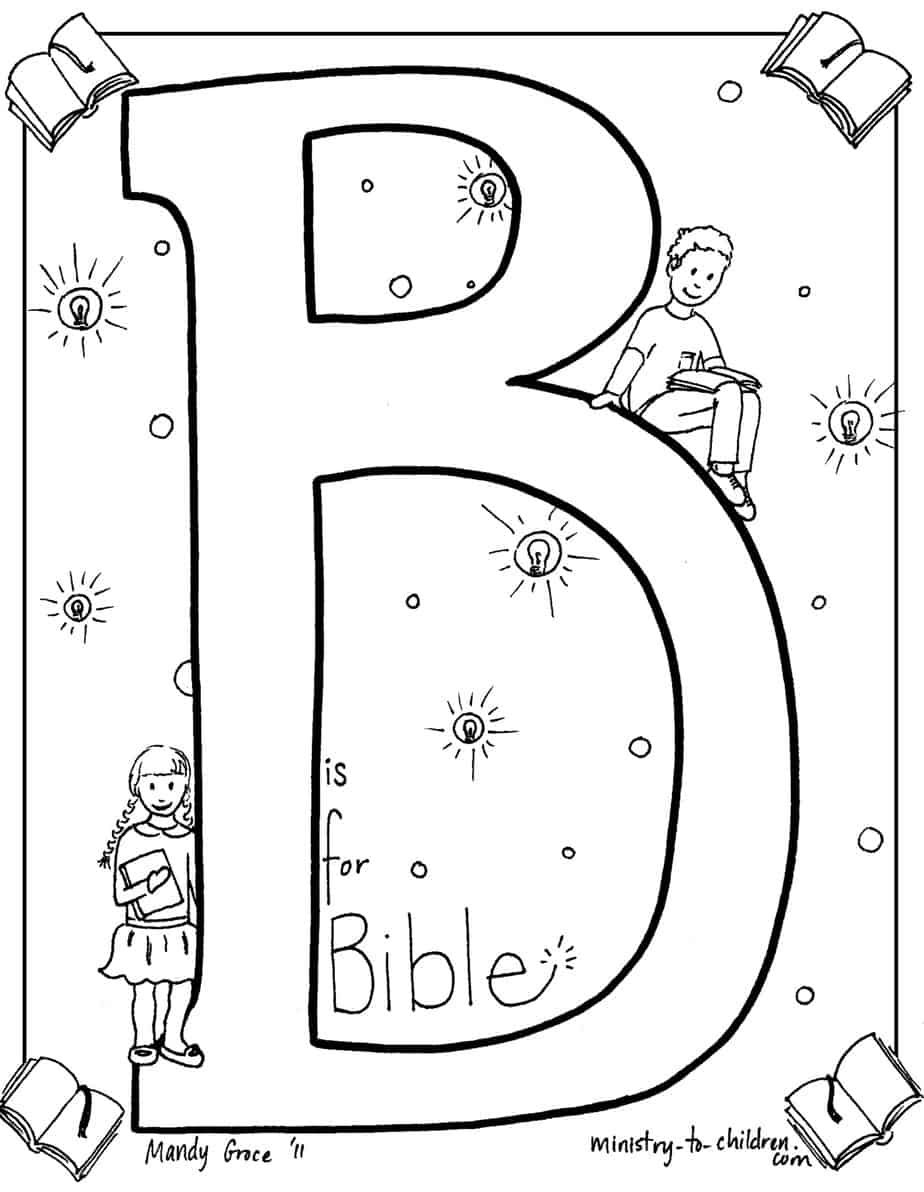 b is for bible quot coloring page