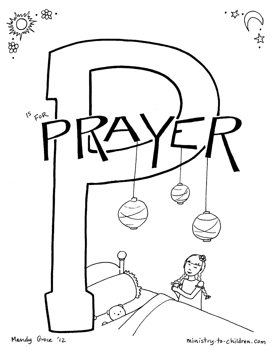 p is for prayer quot bible alphabet coloring page