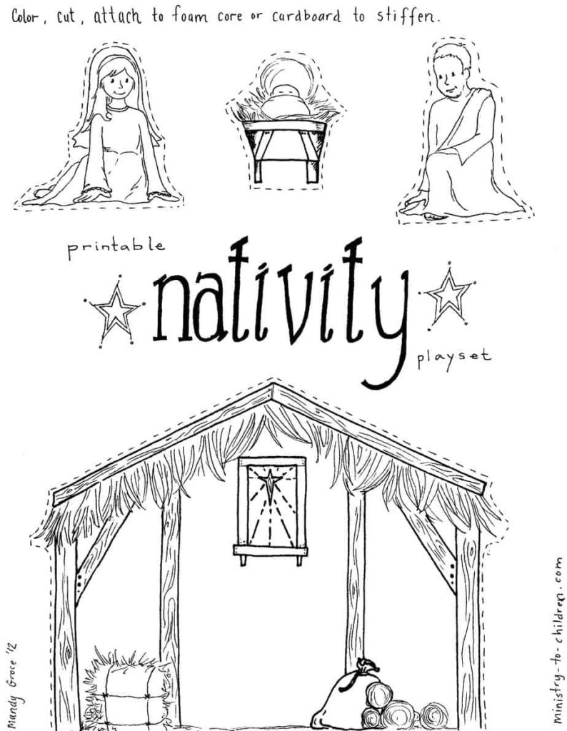 use this printable scene to create a manger play set for