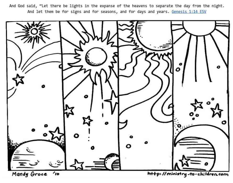 genesis 1 14 coloring sheets god made day amp night