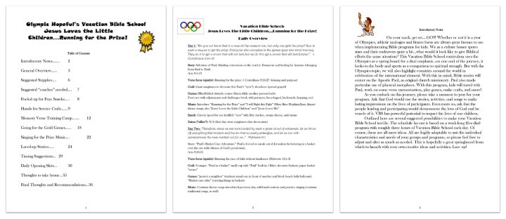 """FREE """"Running for the Prize"""" Olympics Themed VBS Curriculum"""