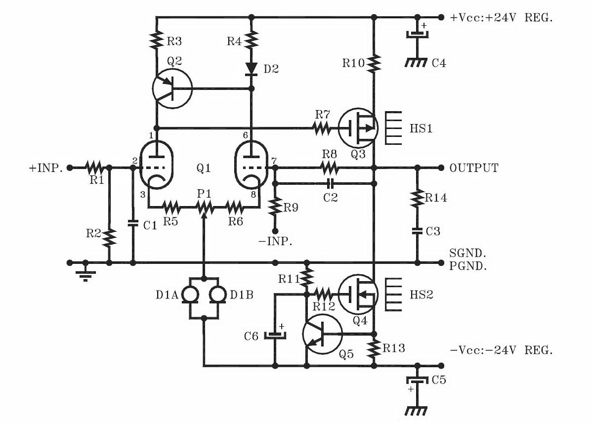 Hybrid Headphone Amplifier Circuit Schematic